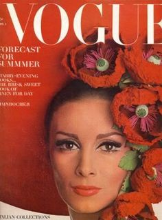 50s and 60s supermodelWilhelmina Cooper wearing an amazing hat on the cover of American Vogue April 1st 1965