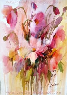Fábio Cembranelli - Abstract impressionist flowers watercolour painting