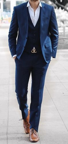 Classic wedding outfit with blue suit