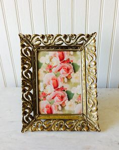 Vintage 5 X 7 Gold Metal Whitewashed Ornate by YellowHouseDecor