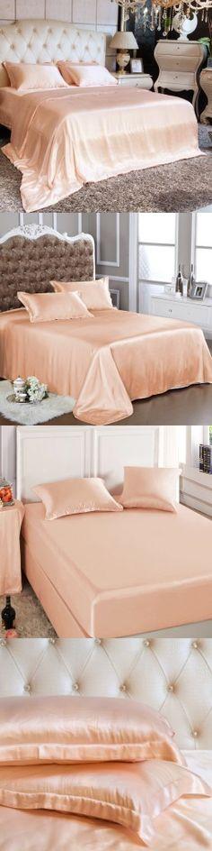 Peach Pink Silk Fitted Sheet&Duvet Cover&Flat Sheet&Oxford Pillowcases