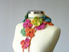Crochet lariat scarf, handmade crochet flower neckwarmer autumn fall winter fashion women accessories, christmas gift idea, rainbow colors