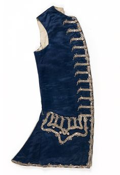 Beautiful blue silk C18th waistcoat with silver embroidery & spangles. Court wear of Patrick Home of Paxton House, Berwickshire, Scotland, UK.