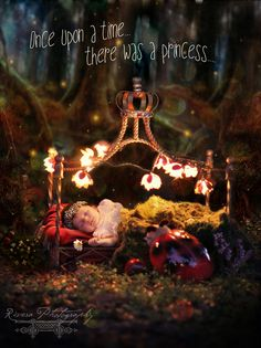 Baby newborn fairytale photoshoot. Princess in enchanted forest. Snow White inspired.