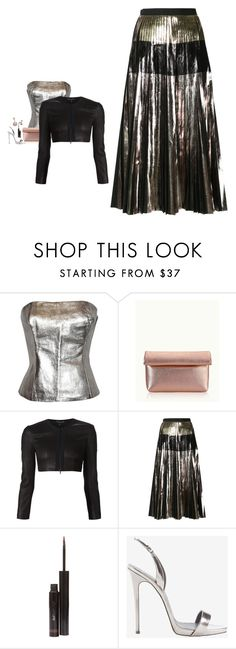"""""""Proenza Schouler - Metallic Pleated A-Line Skirt Style"""" by twinklebluegem ❤ liked on Polyvore featuring Ted Lapidus, GiGi New York, Narciso Rodriguez, Proenza Schouler, shu uemura, Giuseppe Zanotti and Christian Dior"""