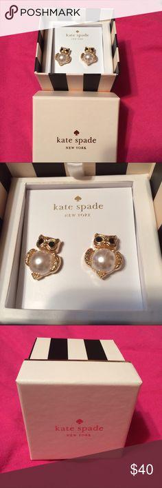 NIB Kate Spade Into the Woods Pearl Owl Earrings Kate Spade Into the Woods Gold & Pearl Owl Earrings -- NEW IN BOX! kate spade Jewelry Earrings