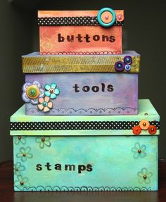 Painted and Decorated Storage Boxes - Washi Tape Crafts Cute Storage Boxes, Shoe Box Storage, Cute Box, Pretty Box, Craft Organization, Craft Storage, Decorative Shoe Boxes, Diys, Washi Tape Crafts