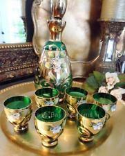 Art Deco Bohemian Czech Emerald Green Glass Gilded Decanter Cordial Set-Moser?
