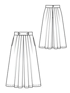 Sewing Skirts burdastyle pleated skirt pattern - View details for the pattern Pleated Button Skirt Pleated Skirt Pattern, Knife Pleated Skirt, Pleated Skirts, Flat Drawings, Flat Sketches, Fashion Design Drawings, Fashion Sketches, Croquis Fashion, Anime Dress