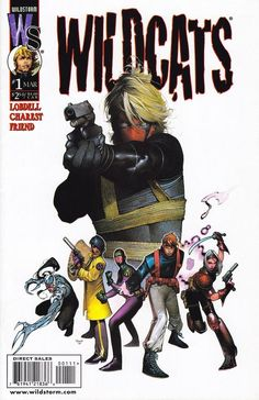 WildCATS #1 (1999) / Cover artist: Travis Charest /  Grifter takes aim over a colorful WildCATS roster. A character focused design emphasized by a plain white background, this cover showcases Charest's trademark style.