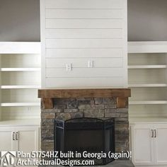 Plan Modern Farmhouse Plan with Bonus Room - Fireplace option - Fireplace Accent Walls, Wood Mantle Fireplace, Brick Fireplace Makeover, Fireplace Shelves, Fireplace Built Ins, Farmhouse Fireplace, Home Fireplace, Fireplace Remodel, Fireplace Design