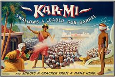 circus, classic posters, free download, free printable, graphic design, magic, printables, retro prints, vintage, vintage posters, vintage printables, Magician Karmi Swallows a Loaded Gun Barrel - Vintage Magic Poster