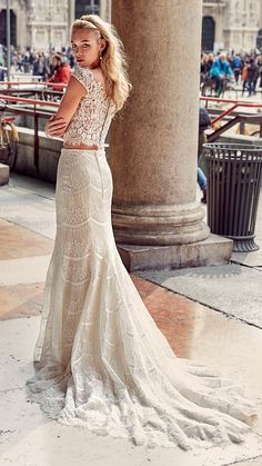eddy k milano bridal 2017 cap sleeves lace bodice trumpet skirt two piece wedding dress (md207) bv train