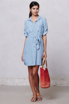 Belted Chambray Shirt Dress - Anthropologie.com