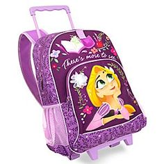 Ideal for school, play and journeys to faraway kingdoms, our Rapunzel rolling backpack makes every outing feel like an adventure! With its perfect size and wheeled design, this lovely carry-all is the perfect traveling companion.