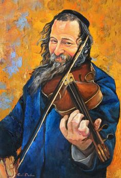 Jewish Violinist Print On Canvas Violin Jewish Musician Print Of Oil Painting Blue Orange Music Print Israeli Artist Jewish Art Gadi Dadon