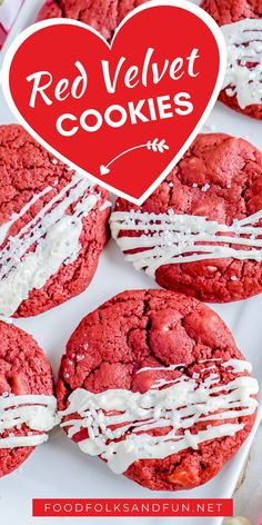 These Red Velvet Cookies with White Chocolate Chips are soft and chewy in the center and crisp around the edges. Follow Food Folks and Fun for more easy Valentines Day ideas!