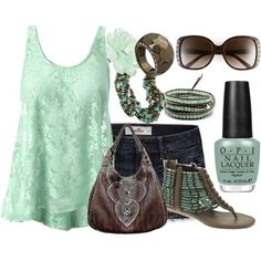 Mint and Brown, created by missyfer88 on Polyvore