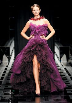 Carlo Pignatelli 2010 Opere couture bridal gown collection - white wedding dress alternative, purple ruffle short to long skirt strapless dress -- Carlo Pignatelli Spring/Summer 2010 Couture Collection Plum Wedding Dresses, Couture Wedding Gowns, Elegant Wedding Dress, Purple Wedding, Bridal Gowns, Plum Dresses, Wedding Suits, Wedding Attire, Wedding Bouquets
