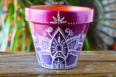Handpainted Ombre Bohemian Pots Boho by MysticCompanyDecor on Etsy Painted Clay Pots, Painted Flower Pots, Flower Planters, Cactus Flower, Hand Painted, Cactus Planters, Flower Pot Art, Flower Pot Crafts, Clay Pot Crafts