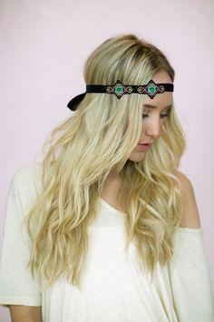 Boho Medallion Velvet Headband  Tie on Medallion door ThreeBirdNest, $28.00