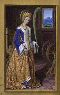 Catherine of Alexandria, Les Grandes Heures d'Anne de Bretagne (Vivian) Medieval Costume, Medieval Dress, Medieval Art, Renaissance Art, Medieval Fashion, Medieval Clothing, Historical Costume, Historical Clothing, St Catherine Of Alexandria