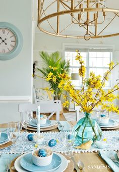 and Yellow Coastal Easter Tablescape aqua-and-yellow-easter-tablesettingaqua-and-yellow-easter-tablesetting Decor, Yellow Kitchen, Yellow Home Decor, Spring Decor, Yellow Kitchen Decor, Yellow Decor, Yellow Dining Room, Teal Kitchen, Yellow Bedroom