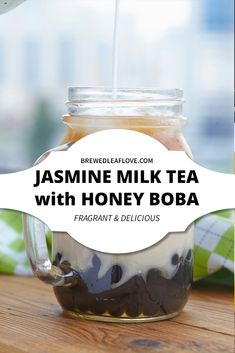 How to make jasmine tea at home with milk and honey boba. Easy recipe for jasmine milk tea from tea bags or loose tea. Iced jasmine milk tea is a delicious drink with health benefits to boot. Jasmine Milk Tea Recipe, Milk Tea Recipes, Jasmine Pearl Tea, Jasmine Green Tea, How To Make Tea, Food To Make, Honey Boba, Lactose Free Milk, Bubble Milk Tea