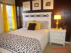 Guest room yellow and brown , Painted accent wall brown and all others are white. looks like something is missing. All ideas are  welcome., ...