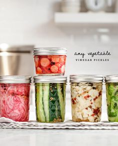 Any Vegetable Vinegar Pickles - A simple pickle recipe that's great for pickling broccoli, cauliflower, radishes, onions, cucumbers, and more!