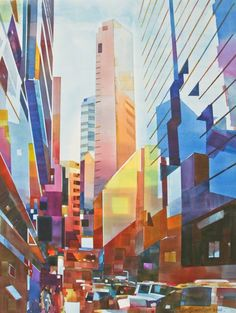 Available for sale from Affinity ART, Lam Siong Onn 藍祥安, Cityscape - Vertical City Watercolour on Arches Paper, 76 × 56 cm Building Painting, Building Art, Vertical City, Skyline Painting, City Drawing, Composition Art, Abstract City, A Level Art, Cool Paintings