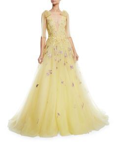 Deep V-Neck Embroidered Tulle A-Line Gown by Monique Lhuillier at Neiman Marcus Dress Clothes For Women, Dresses For Sale, Women's Dresses, Pretty Dresses, Colored Wedding Gowns, Wedding Dresses, Yellow Wedding, Bridesmaid Dresses, Neiman Marcus