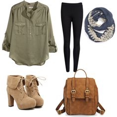 Kaki and Tan look by chloe-simpson99 on Polyvore featuring polyvore, fashion, style, H&M, Ted Baker, TURNOVER and Evelyn K