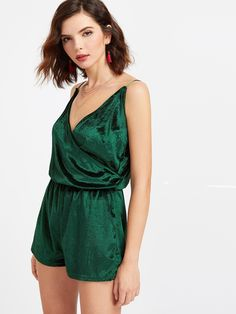 b201c515ee00 SheIn offers Velvet Surplice Cami Romper   more to fit your fashionable  needs.