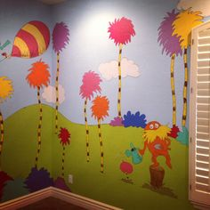 Dr. Seuss playroom. Any kid would love this room! It's the size of a one car garage and his playful characters fill the room! Painted and designed by www.scottsdalemurals.com or visit us on FB at http:/www.facebook.com/kidmuralsbydanarailey