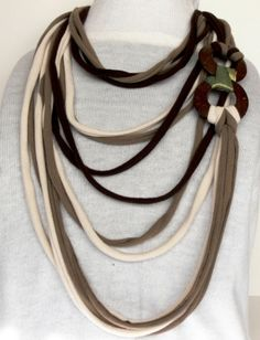Jersey Scarf, T-shirt necklace. Shirt necklace. T-shirt necklace with wood donuts. Handmade fiber necklace by BuCip