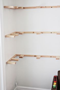DIY floating shelves (progress _ click through for more)