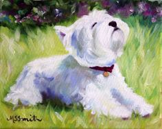 """SUNCATCHER"" by Mary Sparrow Smith, North Carolina // Mary Sparrow's Whimsical westie art... capturing the spirit of your favorite four legged friend! // Imagekind.com -- Buy stunning, museum-quality fine art prints, framed prints, and canvas prints directly from independent working artists and photographers."