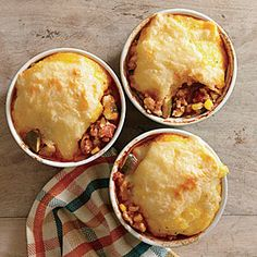 Tamale Chicken Potpies Recipe | Cooking Light #myplate #protein #veggies #dairy #fruit