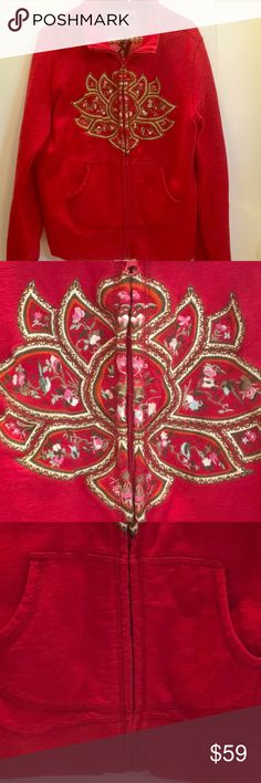 """LUCKY BRAND ZIP UP SWEATSHIRT TIBET Mandala FRONT RED Zip Up POLY COTTON Blend w/ incredible Embroidered mandala across front. Back reads TIBET in black stitchery.  EXCELLENT CONDITION. XL....21"""" pit - pit...23 1/4"""" shoulder - edge.  LUCKY BRAND Runs SMALL PERFECTLY PERFECT GIFT ❤️🎀💠❤️🎀💠❤️🎀💠 Lucky Brand Tops Sweatshirts & Hoodies"""