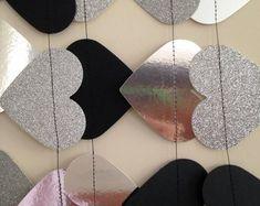 Guirnalda de papel brillo, plata y Noir, Glitter plata y negro, ducha nupcial, decoraciones fiestas, cumpleaños decoración, recepción de la boda del corazón