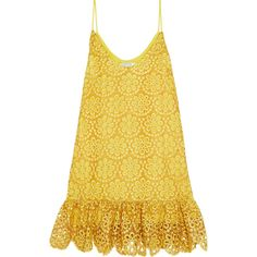 Alexis Clement fluted crocheted cotton mini dress ($220) ❤ liked on Polyvore featuring dresses, marigold, mini dress, yellow dress, cotton day dresses, yellow crochet dress and short dresses