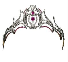 Duchess of Roxburghe diamond and ruby tiara, second half of the 19th century.