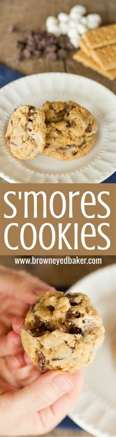 S'mores Cookies made with graham cracker crumbs, mini marshmallows and milk chocolate chips! | browneyedbaker.com