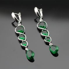 Made in China Created Green Emerald Silver Color Brial Jewelry Sets Necklace Pendant Long Drop Earrings For Women Free Gift Box