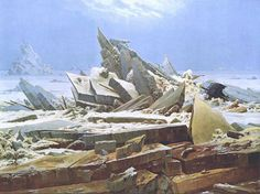 The Sea of Ice (German: Das Eismeer), also called The Wreck of Hope (German: Die gescheiterte Hoffnung) is an oil painting of 1823–1824 by the German Romantic artist Caspar David Friedrich.  The landscape depicts a shipwreck in the middle of a broken ice-sheet, whose shards have piled up after the impact. The ice has become like a monolithic tomb, or dolmen, whose edges jut into the sky.The stern of the wreck is just visible on the right. As an inscription on it confirms, this is HMS Griper…