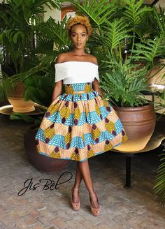 The Ankara African Print Midi Skirt features gorgeous neutrals in a geometric wax print. Fabric: Wax Cotton Model is See photos for our Size Chart African Inspired Fashion, African Men Fashion, Africa Fashion, African Fashion Dresses, Black Women Fashion, African Women, African Print Dresses, African Dress, African Attire