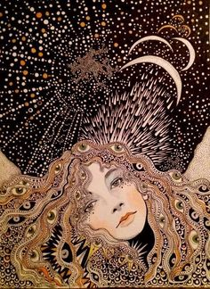 Mystical style illustration of a woman on a magical moon night. Art Inspo, Inspiration Art, Fashion Inspiration, Graffiti Kunst, Psy Art, Art Et Illustration, Art Illustrations, Psychedelic Art, Art Design