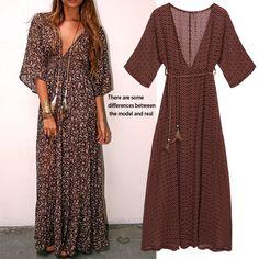 Better Deal $11.34, Buy Beach Dress Women Vestidos Maxi Dresses 2017 Bohemian Chiffon V Neck With Accessories Vintage Print Autumn Sundress Plus Size