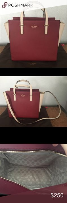 Kate Spade Cedar Street Hayden Beautiful burgundy and white handbag, brand new. Includes long strap and storage bag. I bought it online and decided it wasn't my style kate spade Bags Shoulder Bags